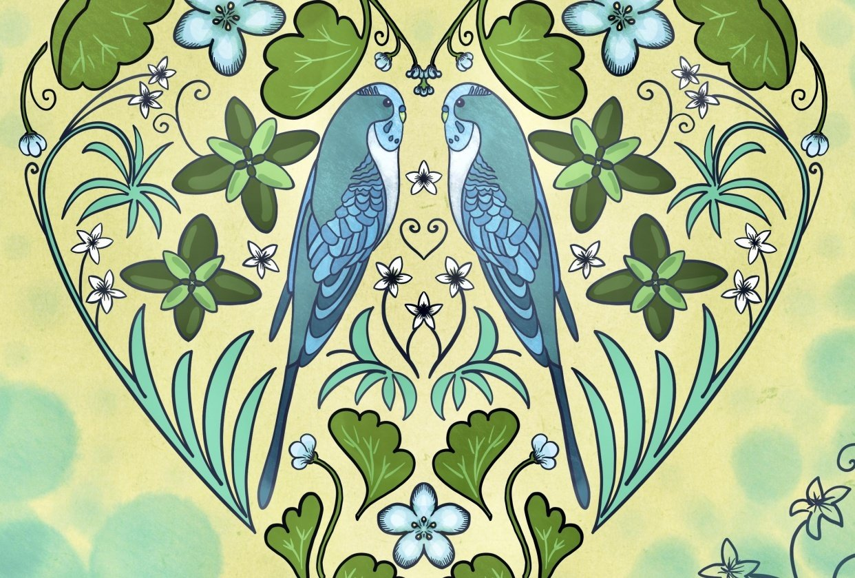 Folk Art Parakeet Process - student project