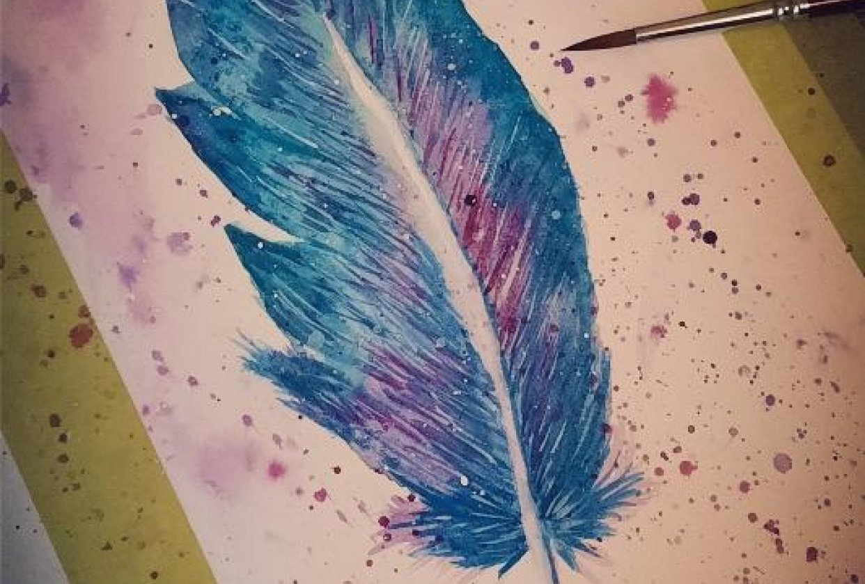 First time feather painting - student project