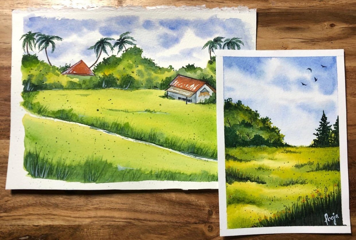 Green Watercolor Landscapes - Jan'21 - student project