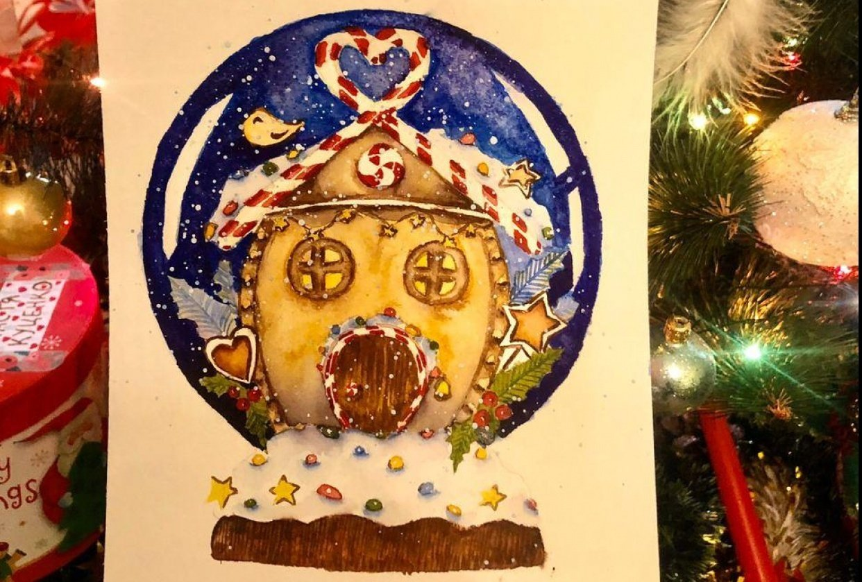 Snow globe with gingerbread house - student project