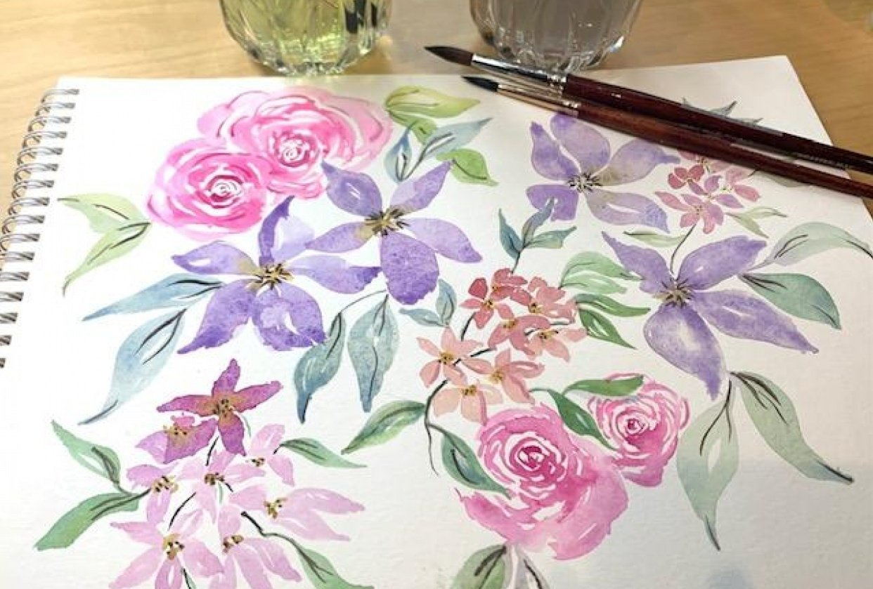 Loose Pinwheel, clusters and rose - student project