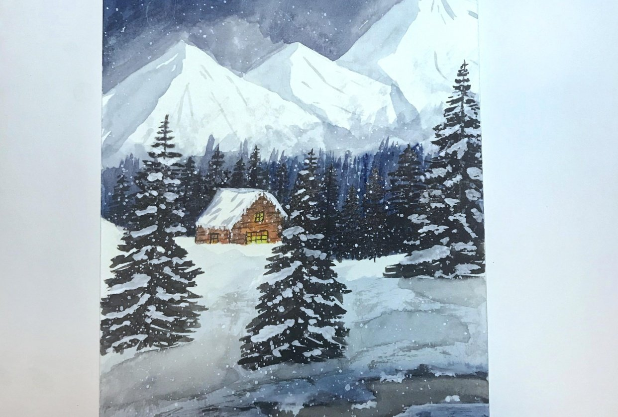 Snowy winters night - student project