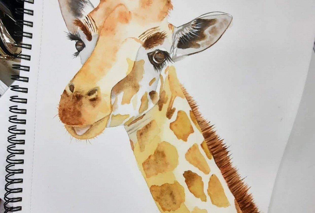Watercolour Giraffe - student project