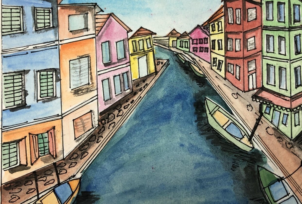 Urban sketching by Zaneena - student project