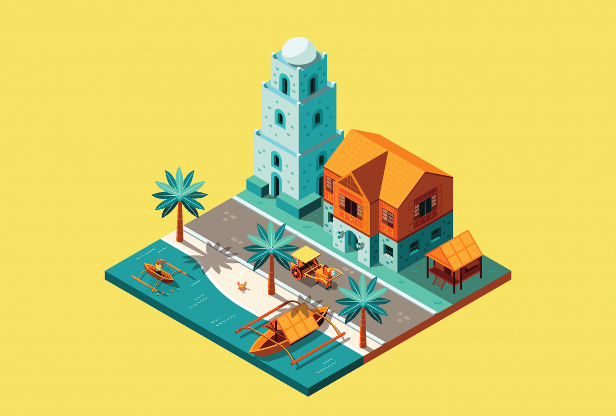 3D Illustration of an Old Filipino Town - student project