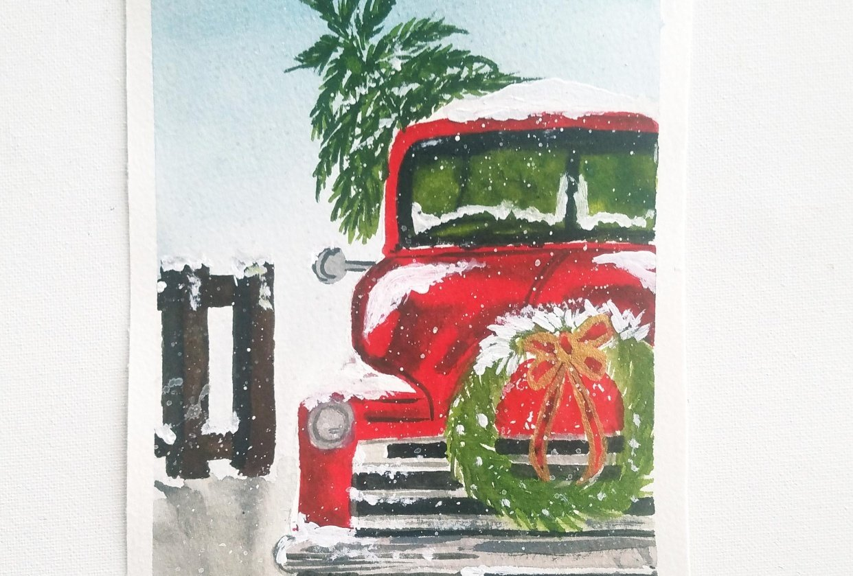 Santa's Car carrying a pine tree - student project