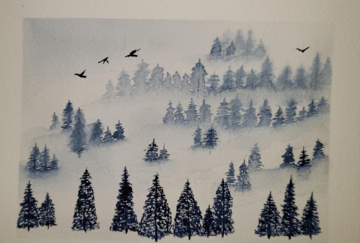 Watercolor Misty Pines - student project