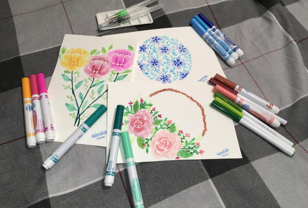 Brush Pen Loose Florals Watercolor Paintings - student project