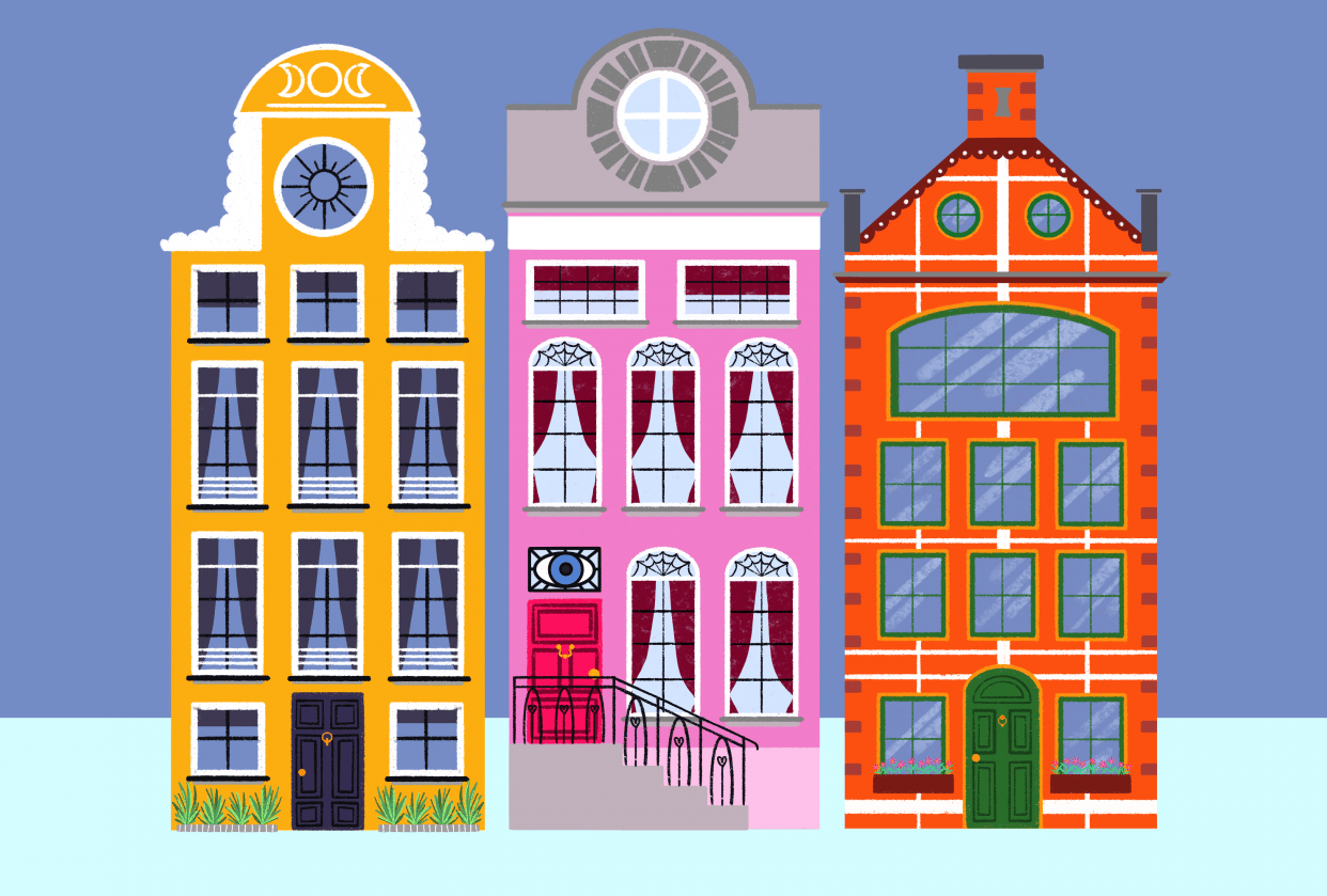 Colourful tall houses - student project
