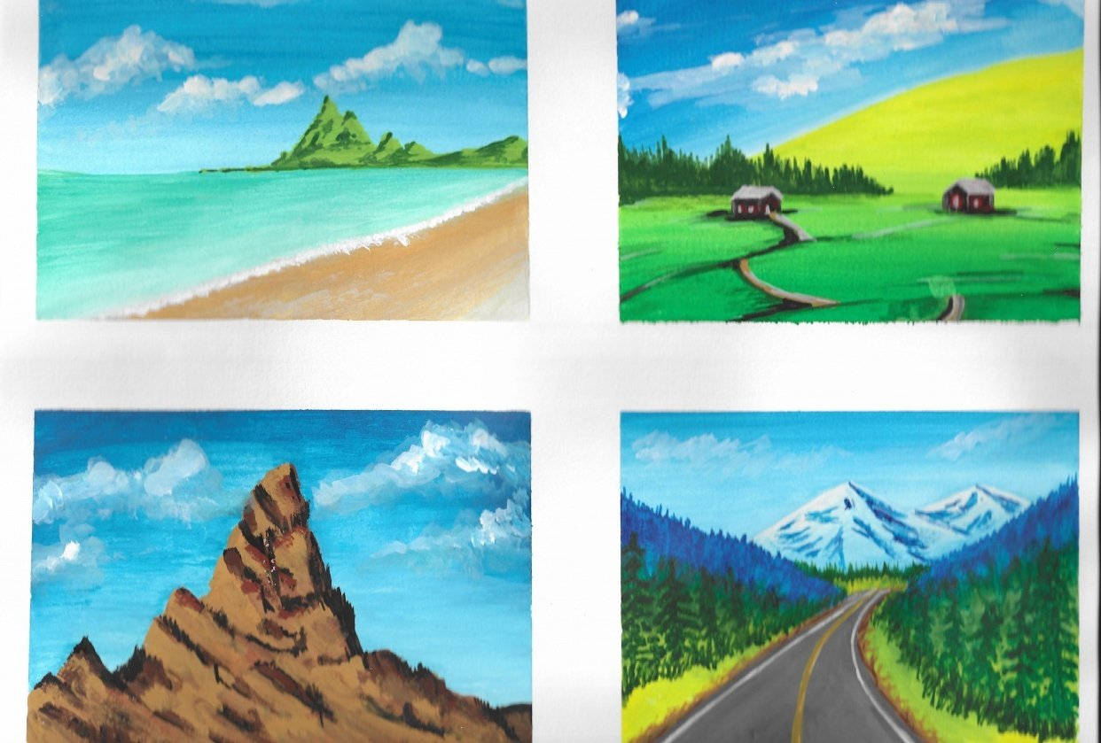 My first gouache landscapes - student project