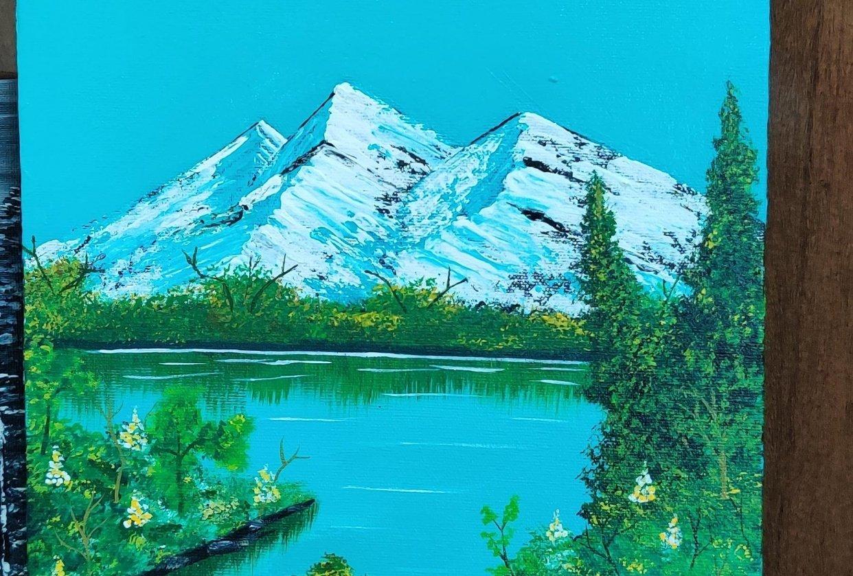 Snow peak lake painting - student project