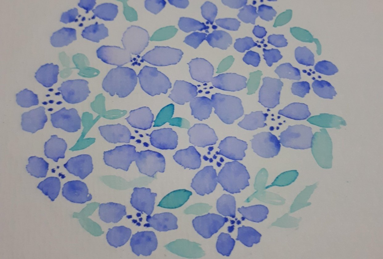 Brush Pen Loose Florals Watercolor Painting Trial - student project