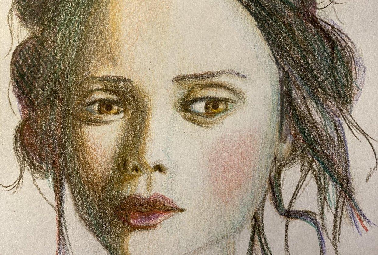 Colored pencils portrait - student project