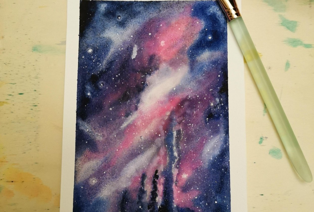 My watercolor galaxy based on Zaneena's class - student project