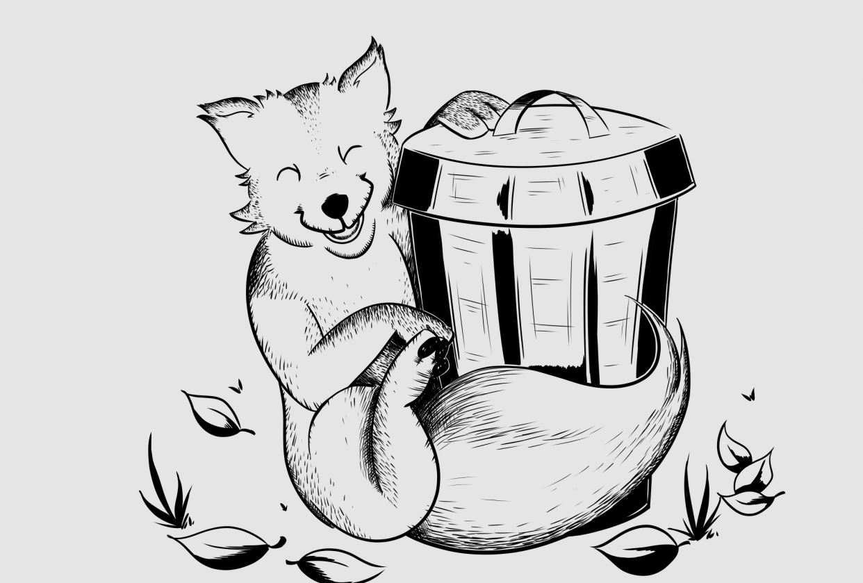 Fox playing with rubbish bin - student project