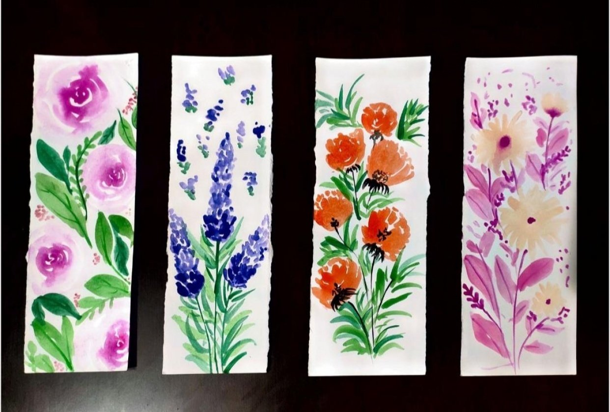 Floral bookmarks - student project