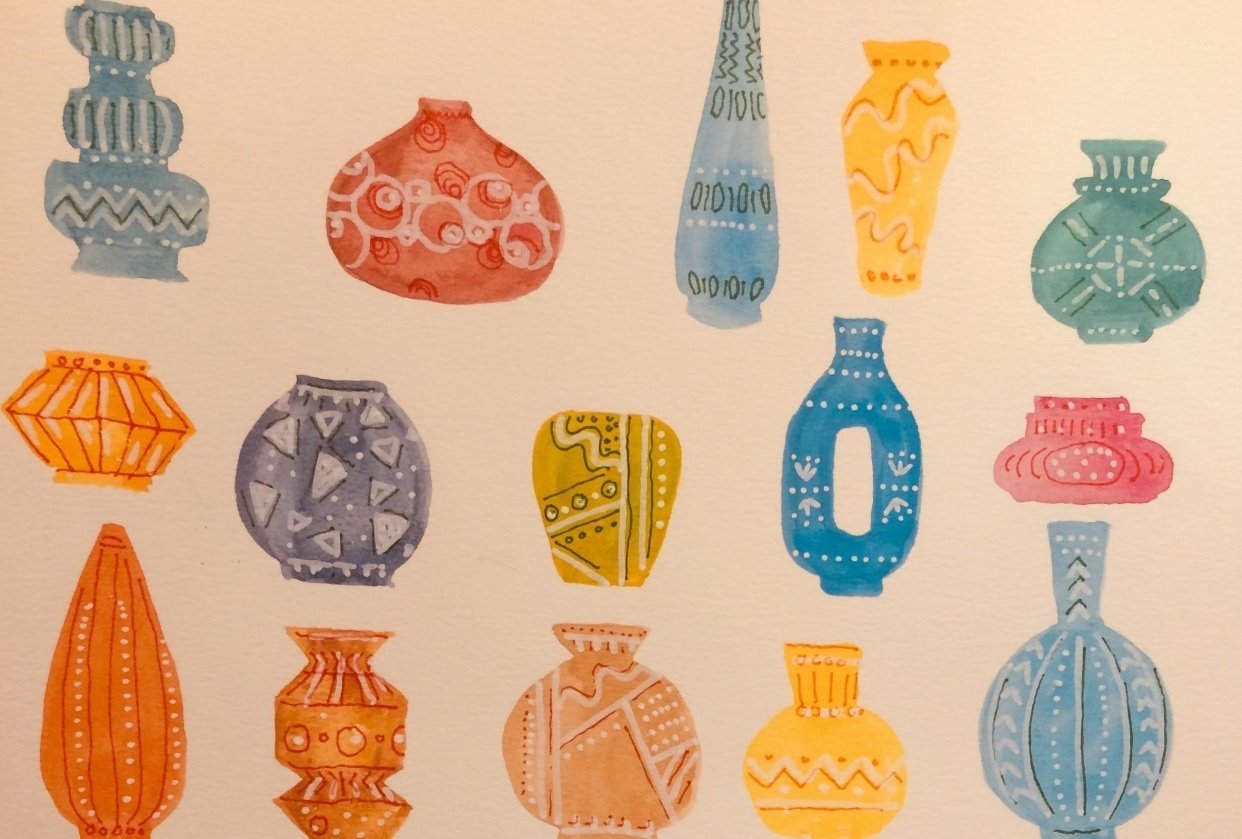Vases with watercolour and pen - student project
