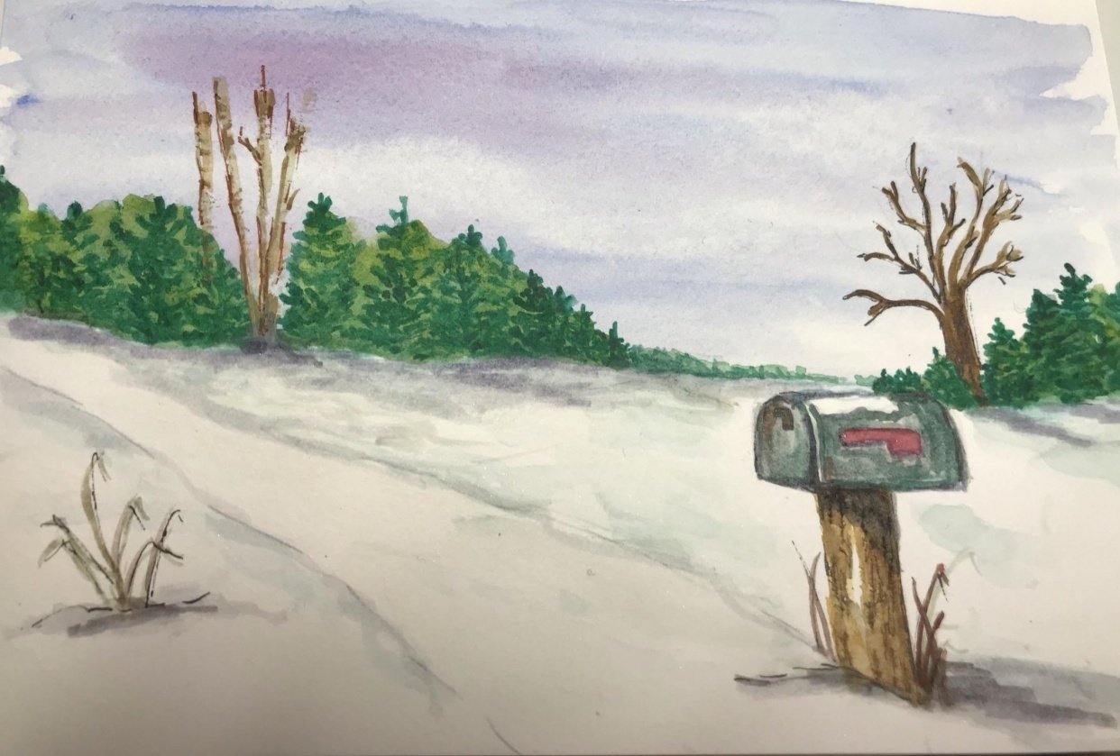 Mailbox in Winter Landscape - student project