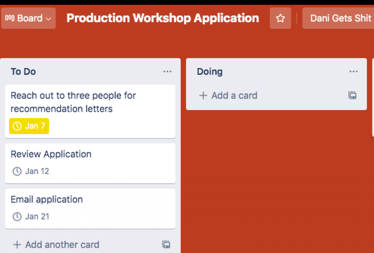Project Planning: Trello & Planner - student project
