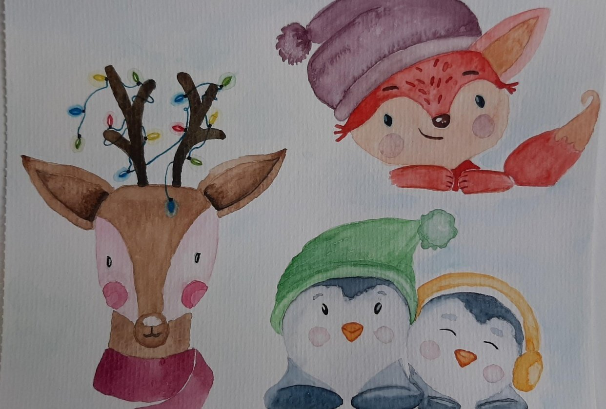 Cute Xmas Animals - student project