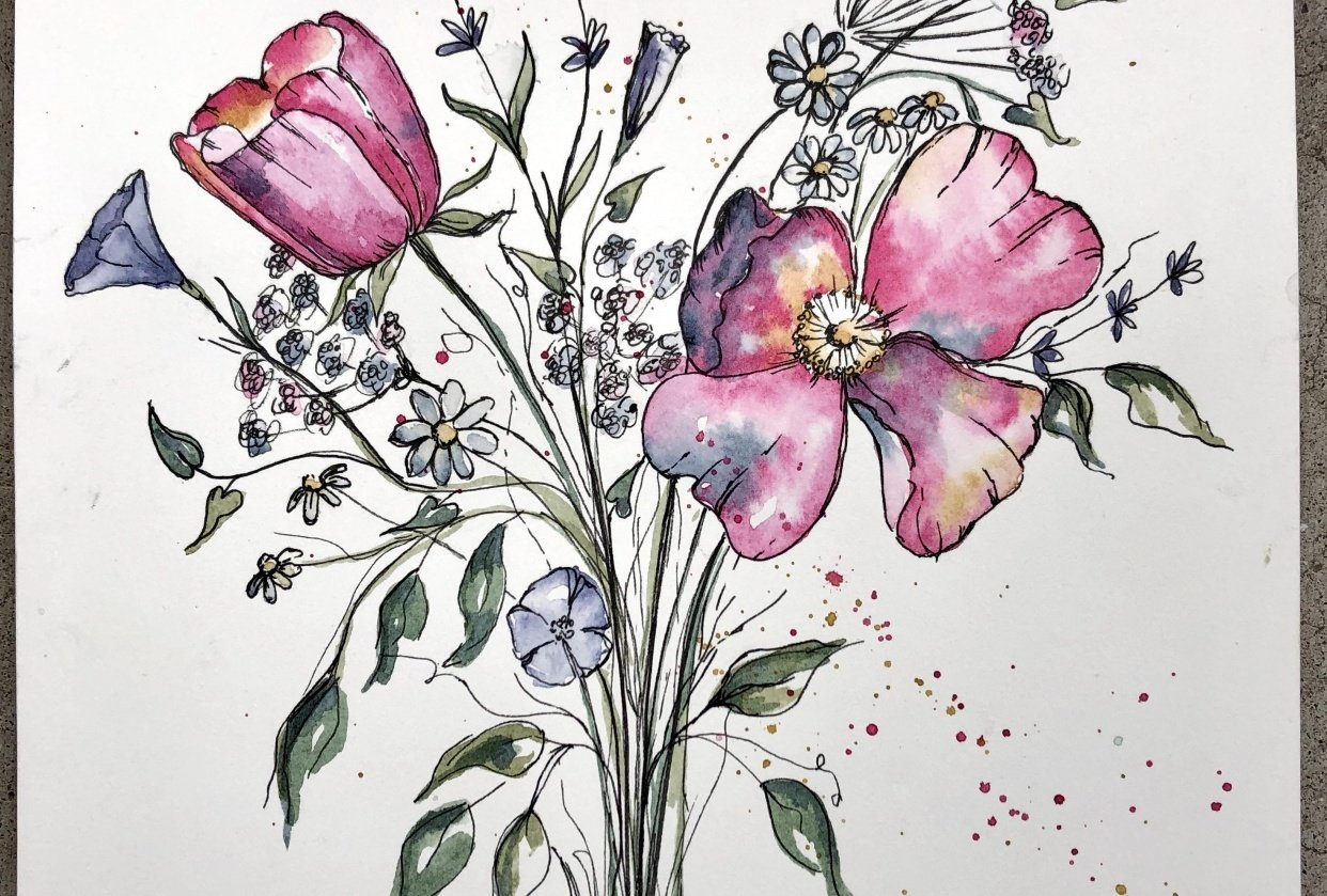 Watercolor and ink flowers - student project