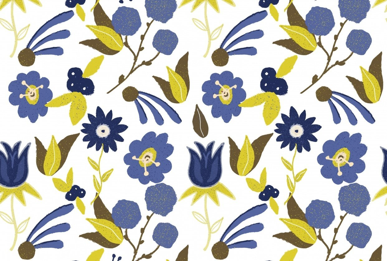 Repeating Floral Pattern using Procreate - student project