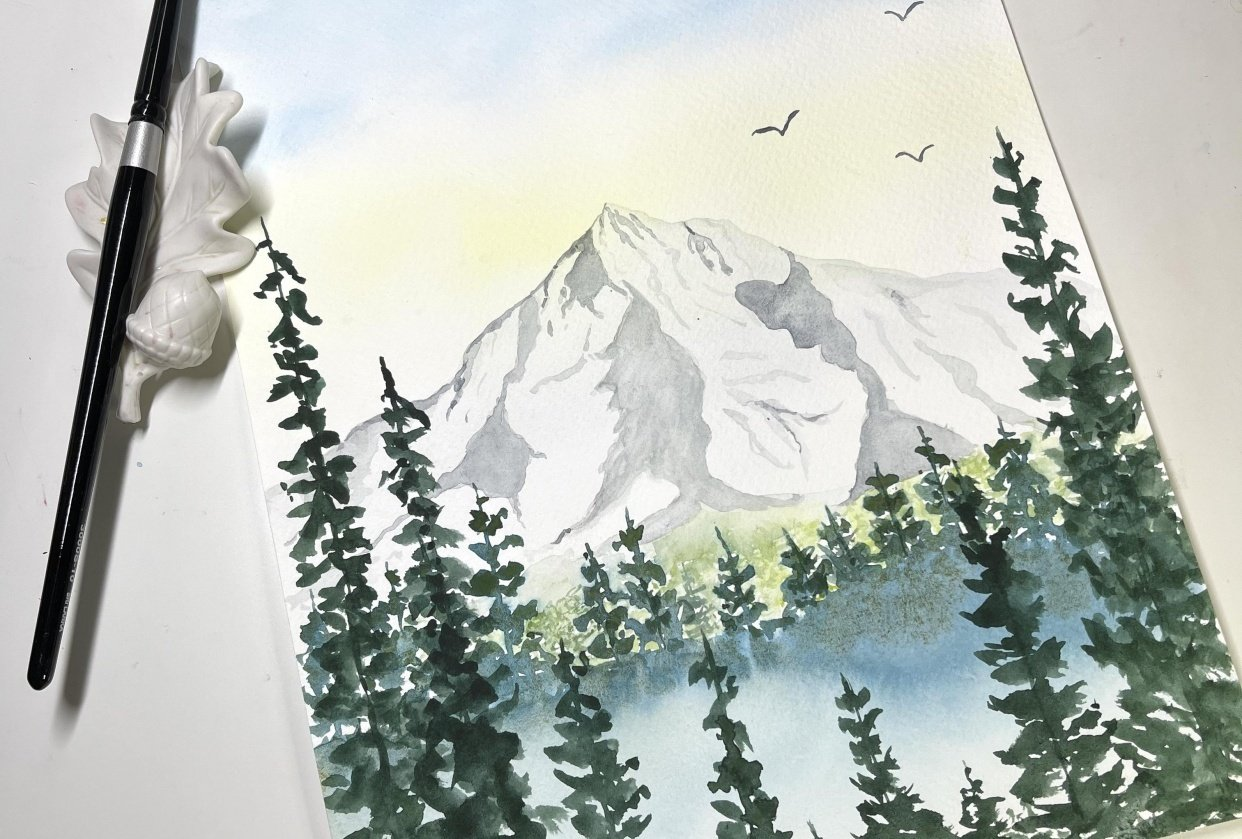 Watercolor Mountaintop - student project