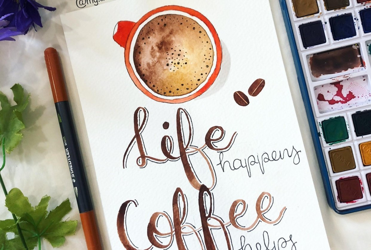 Coffee watercolour and lettering - student project