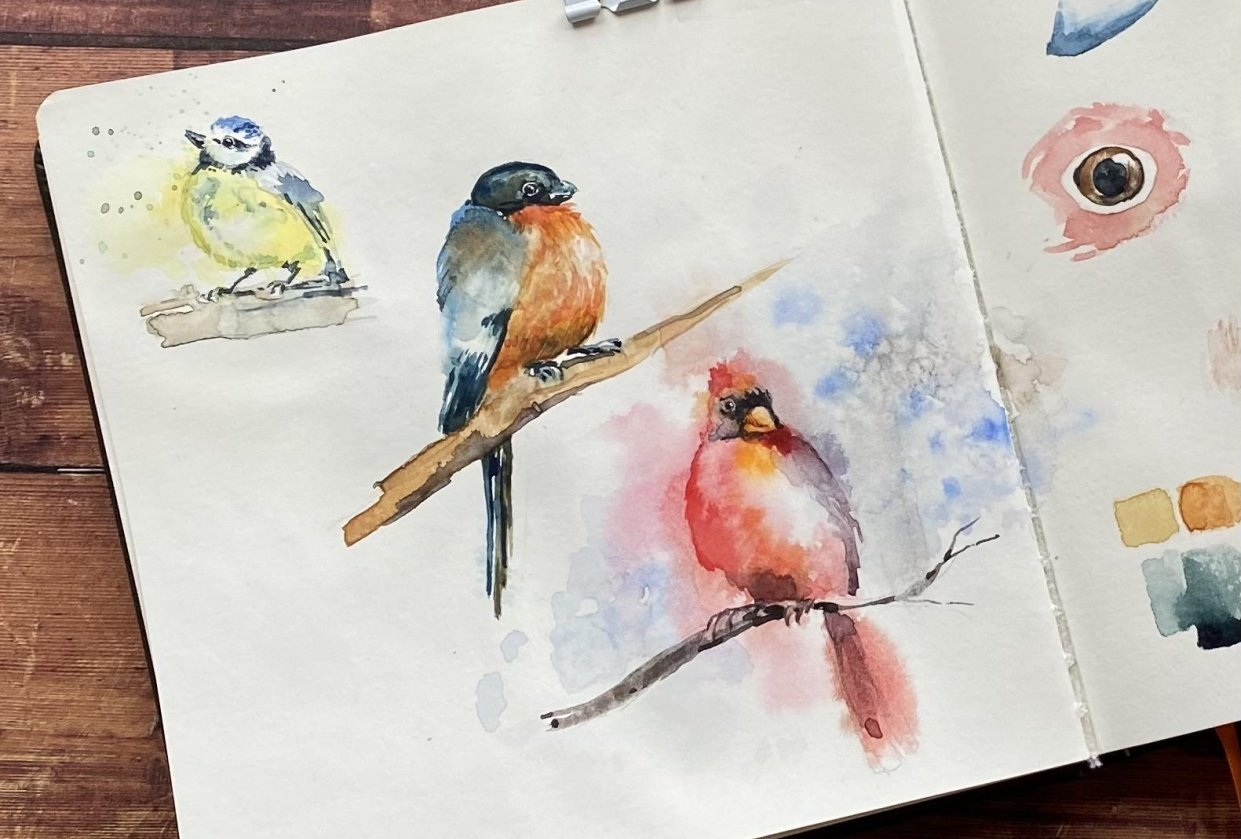 Watercolor Birds - student project