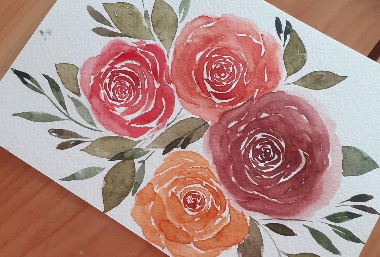 Loose watercolor roses - student project