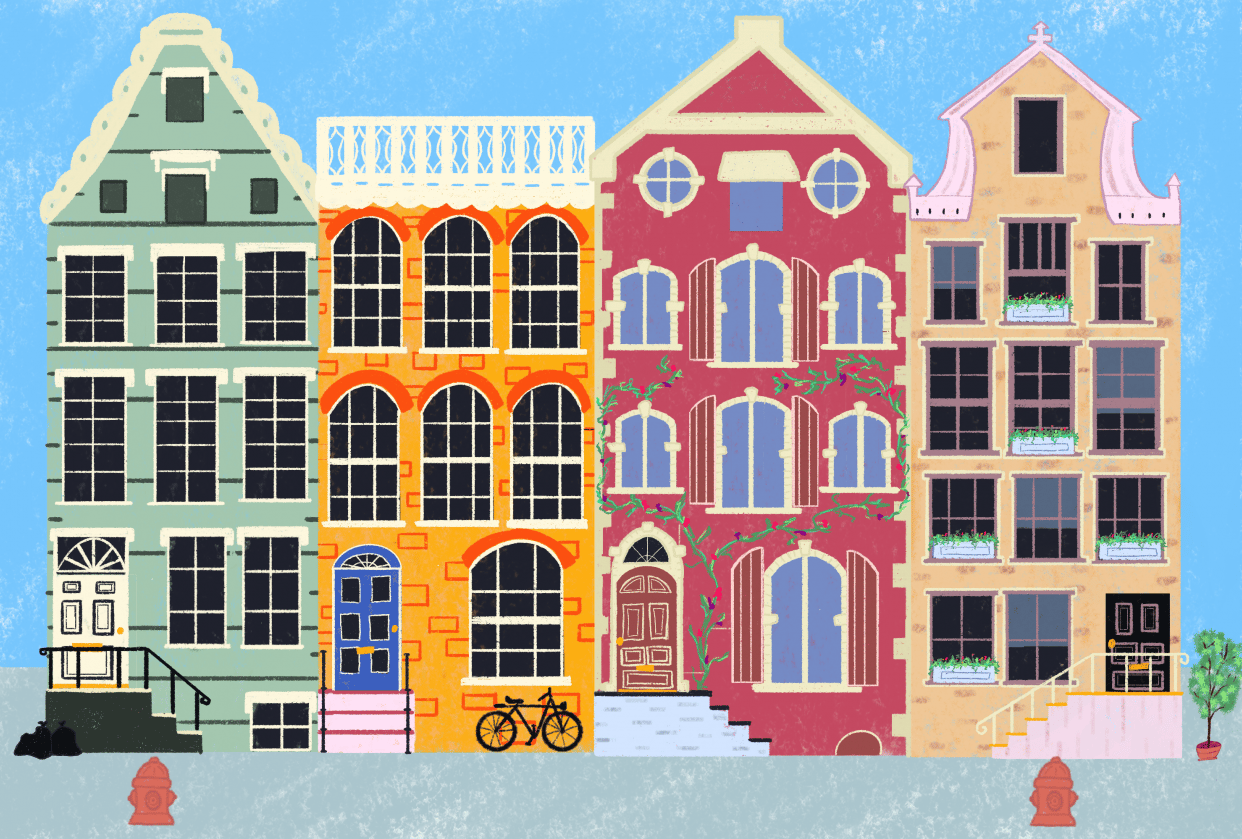 Colorful canal houses - student project