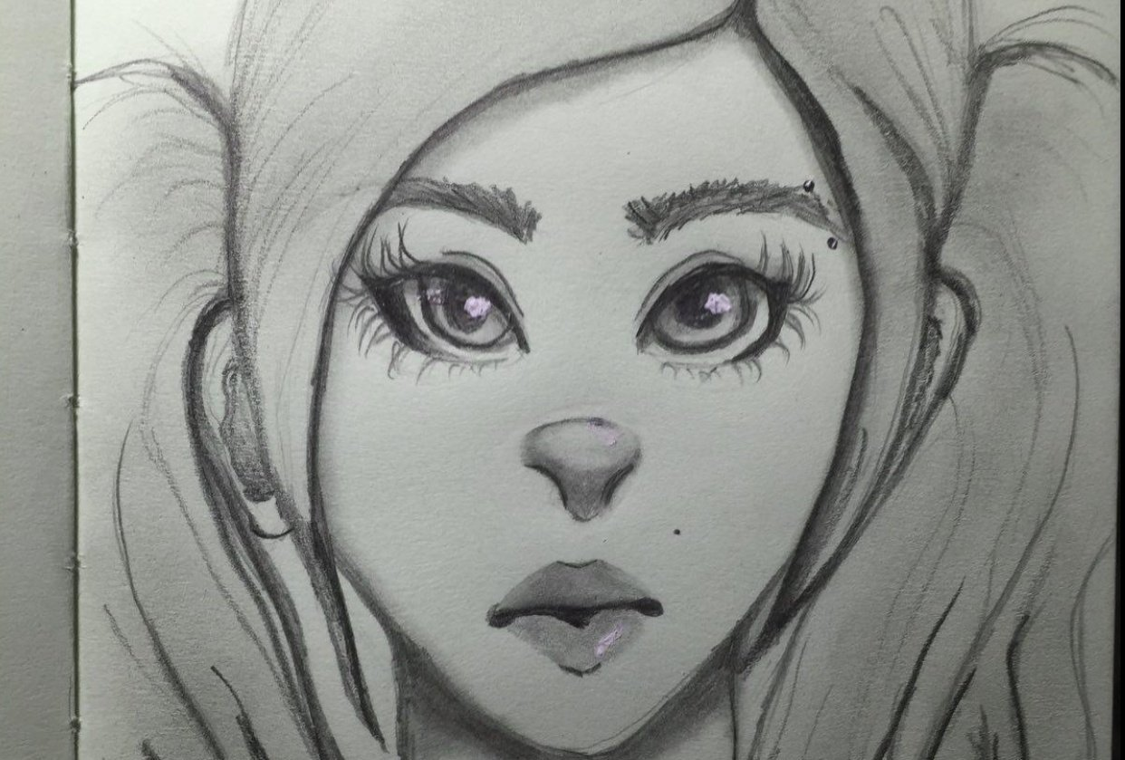 Lady with piercing - student project