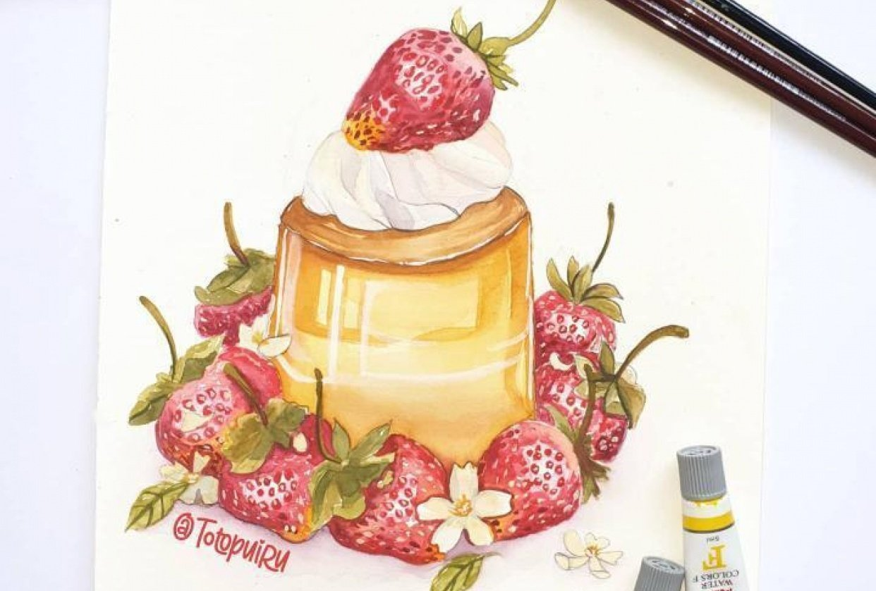 Watercolor dessert - student project