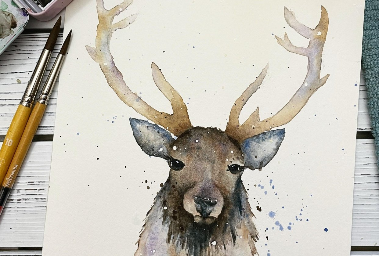 Stag Watercolor Painting - student project