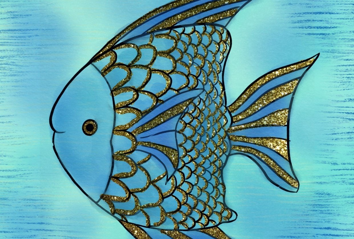 Blue Fish with Gold Accents - student project