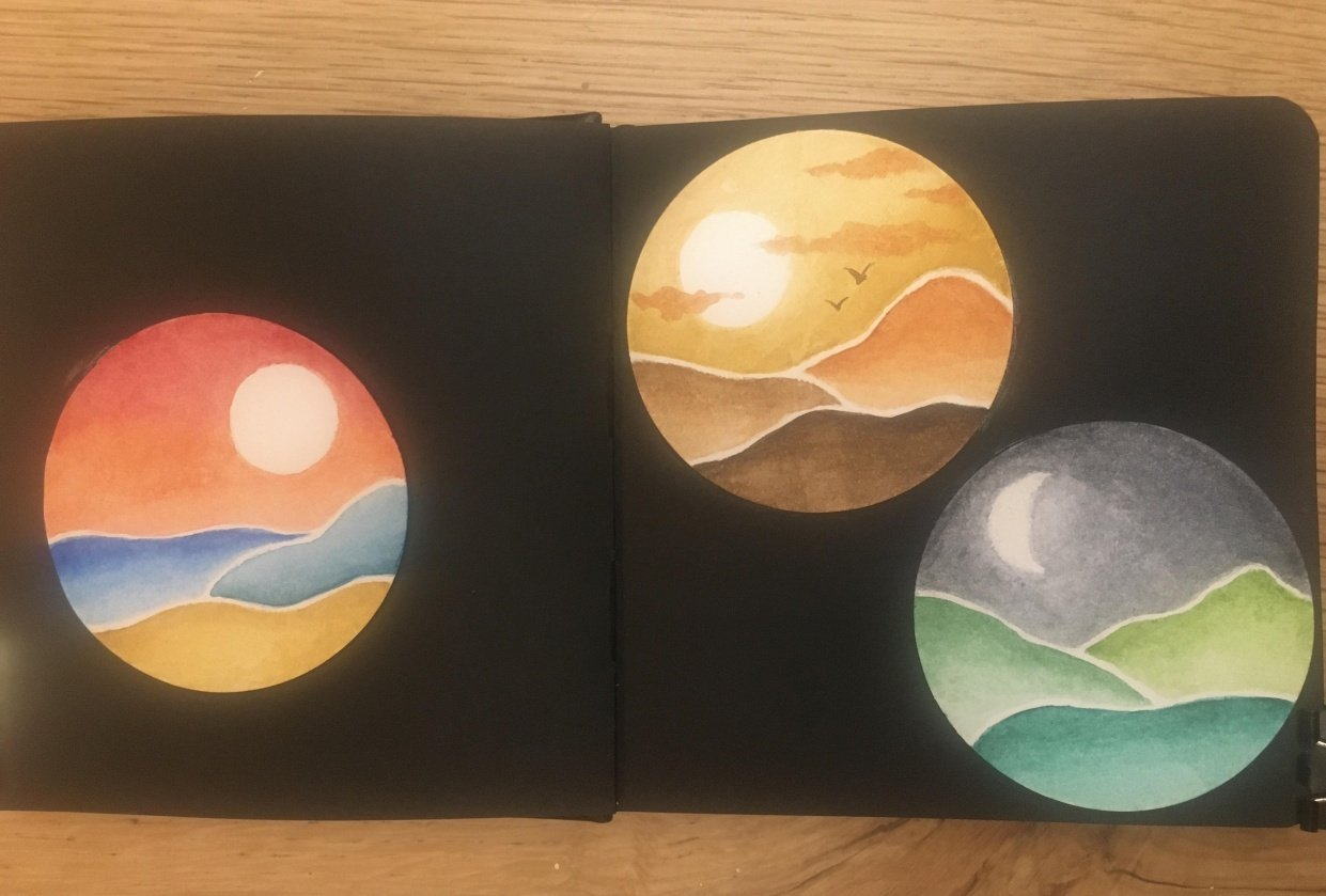 Watercolour abstract landscapes - student project