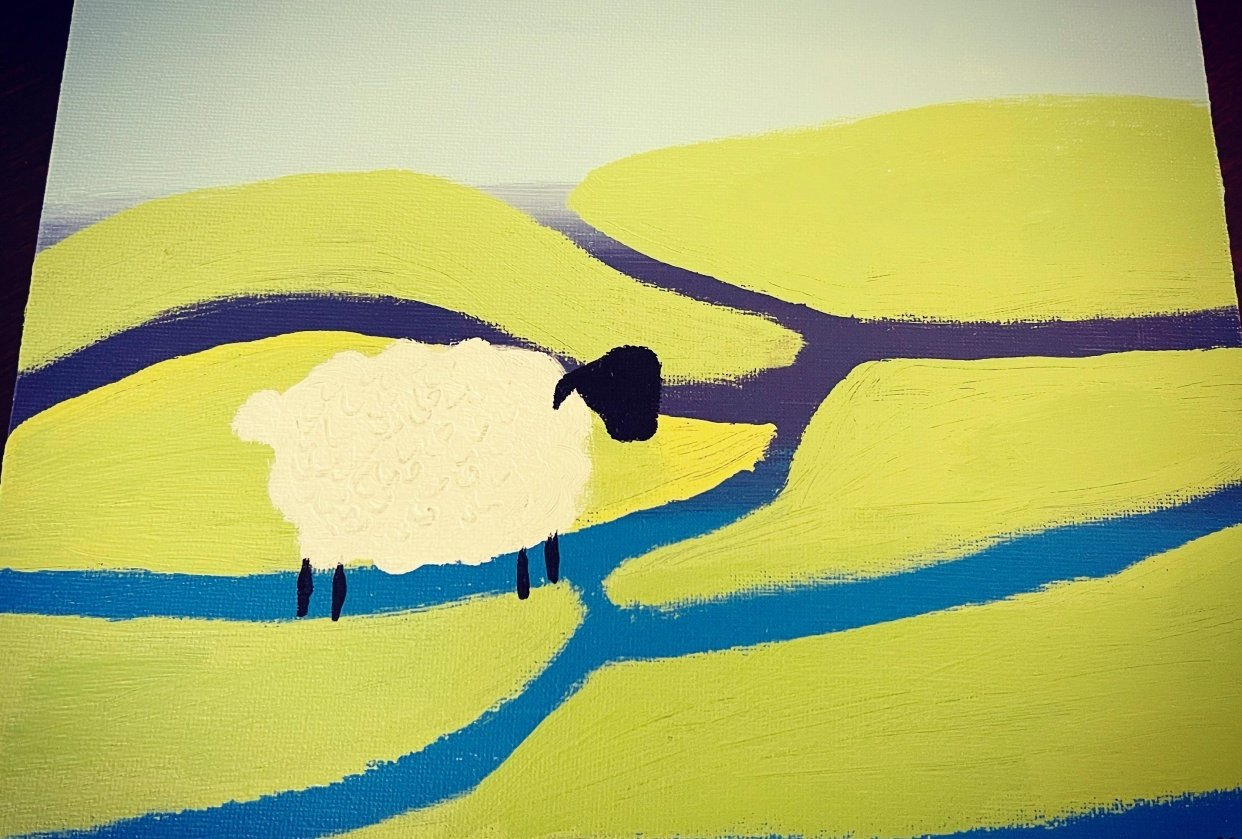Lone Sheep in Field - student project