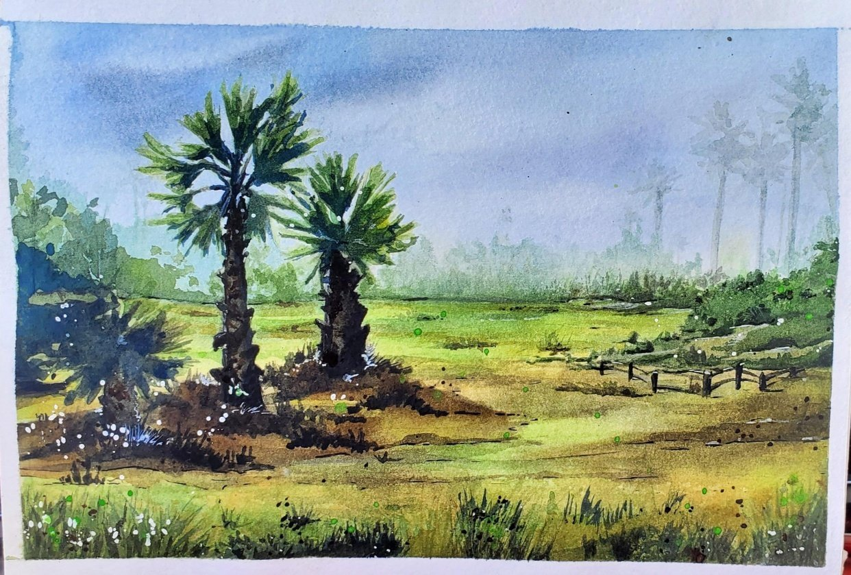 Watercolor Palm Trees - student project