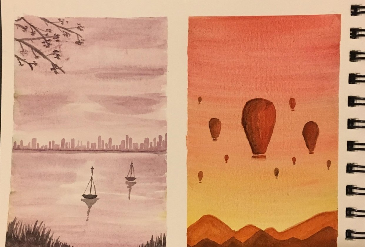 Watercolor boat and hot air balloons - student project
