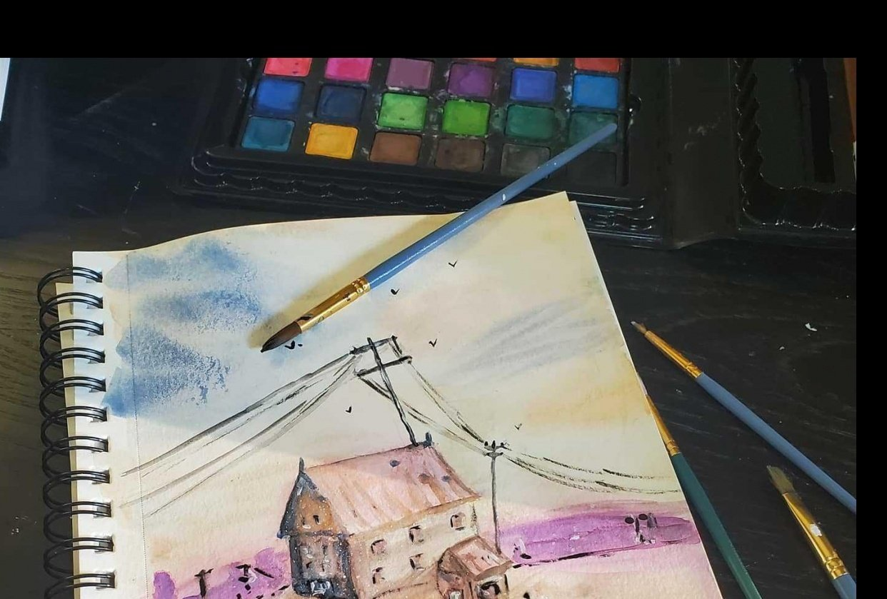 Watercolor building and poles - student project