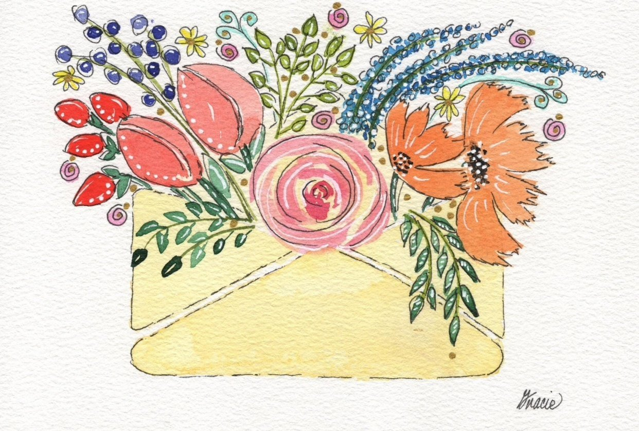 Envelope with Flowers - student project