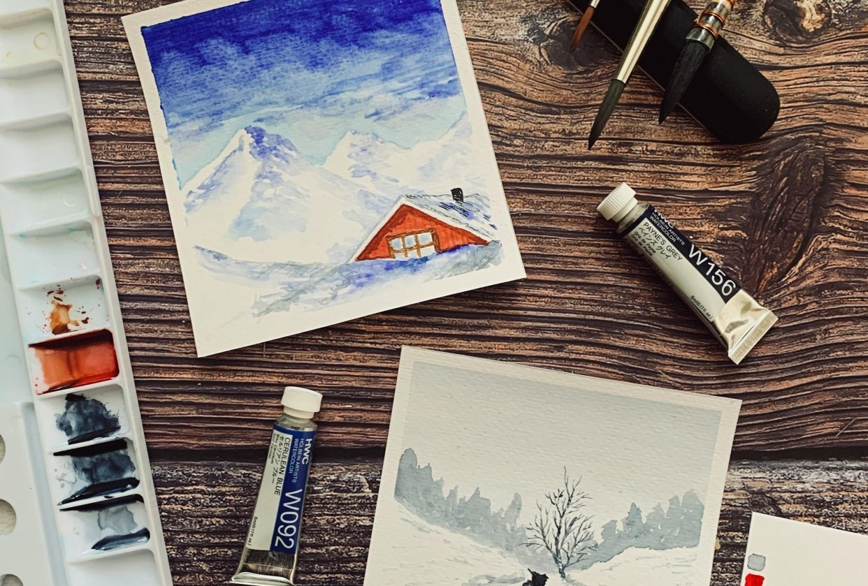 Fun Snowy Watercolor Paintings - student project