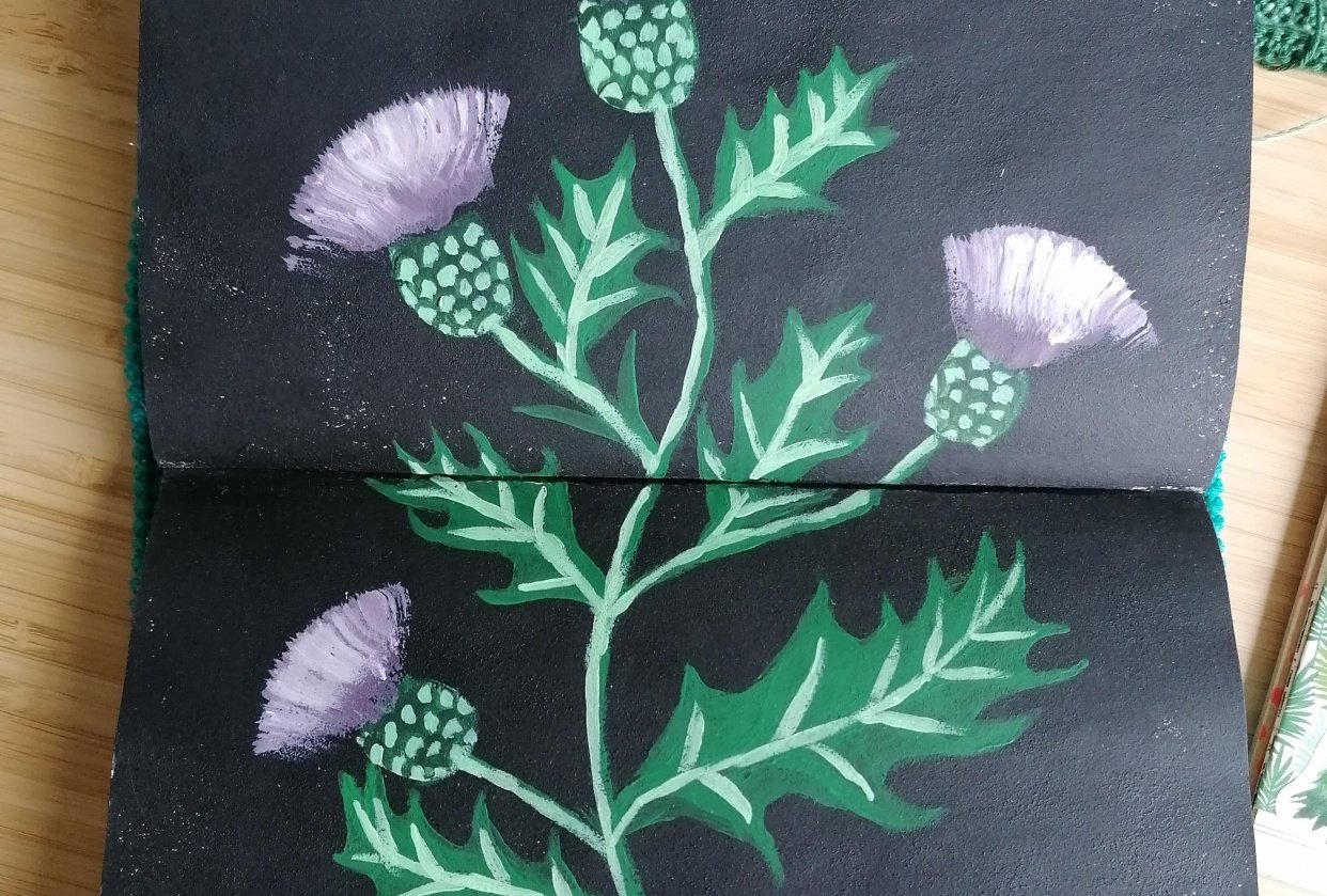 Thistles with acrylic - student project
