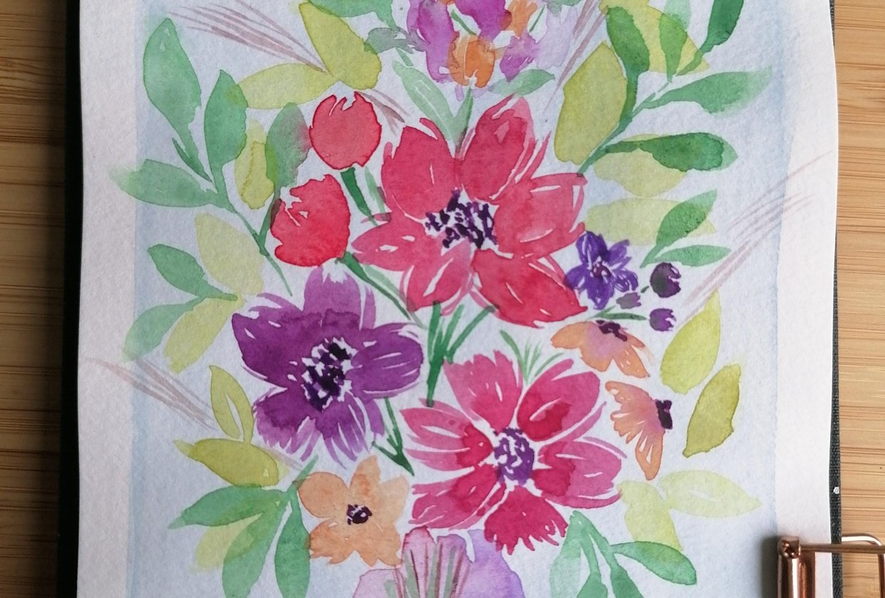 Flower bouquet in watercolor - student project
