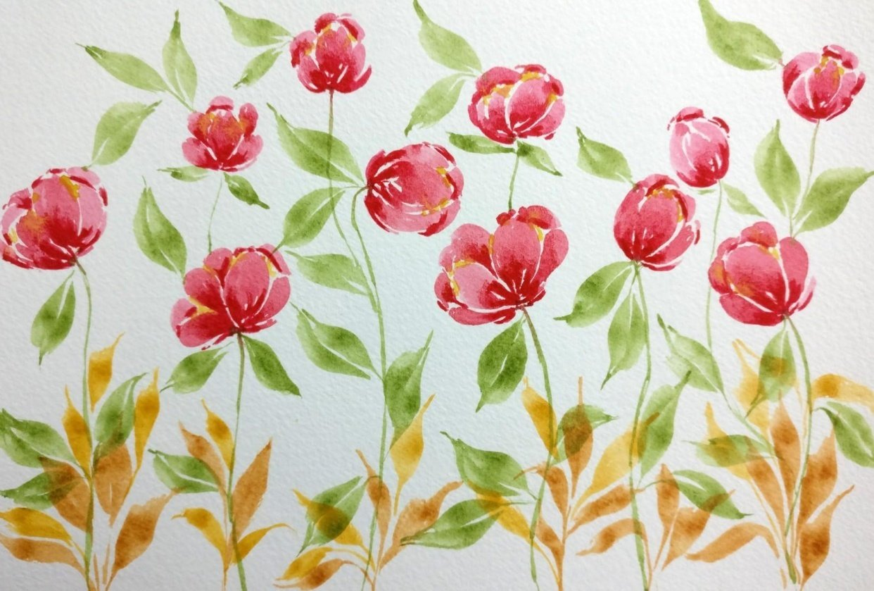 Loose Watercolor Tulips - student project