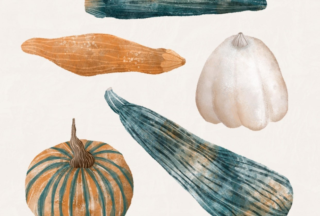Watercolour gourds - student project