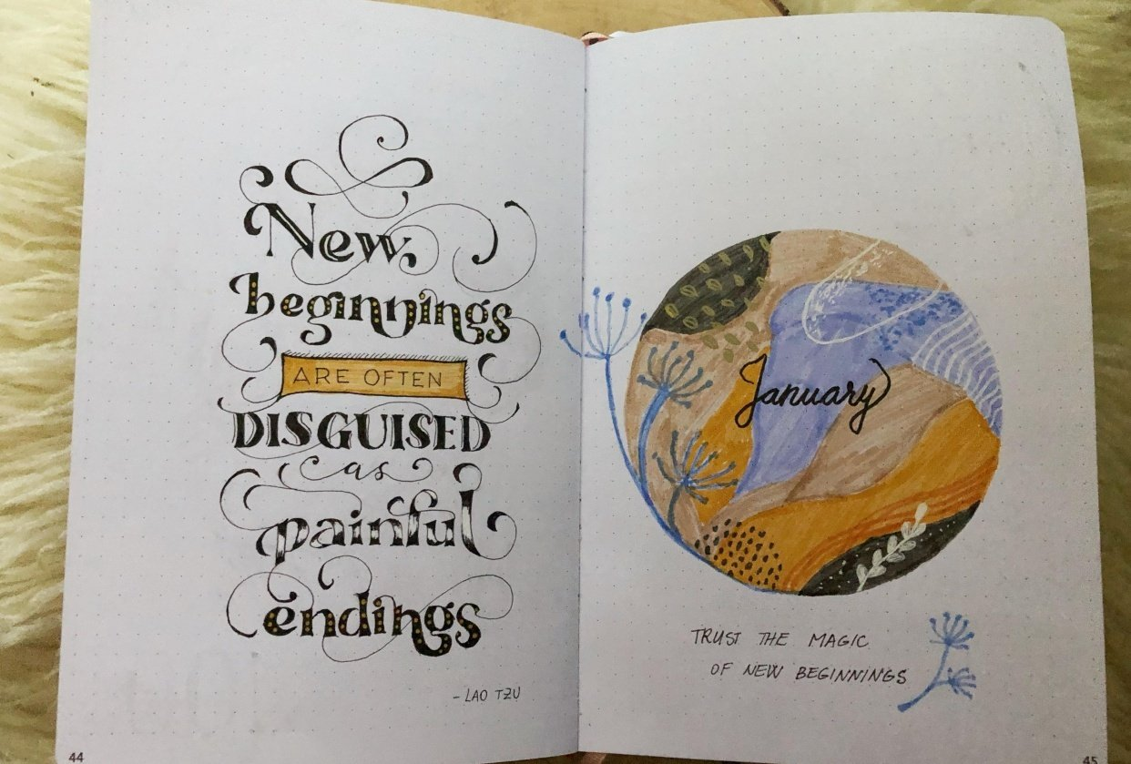 My first lettering in the bujo - student project