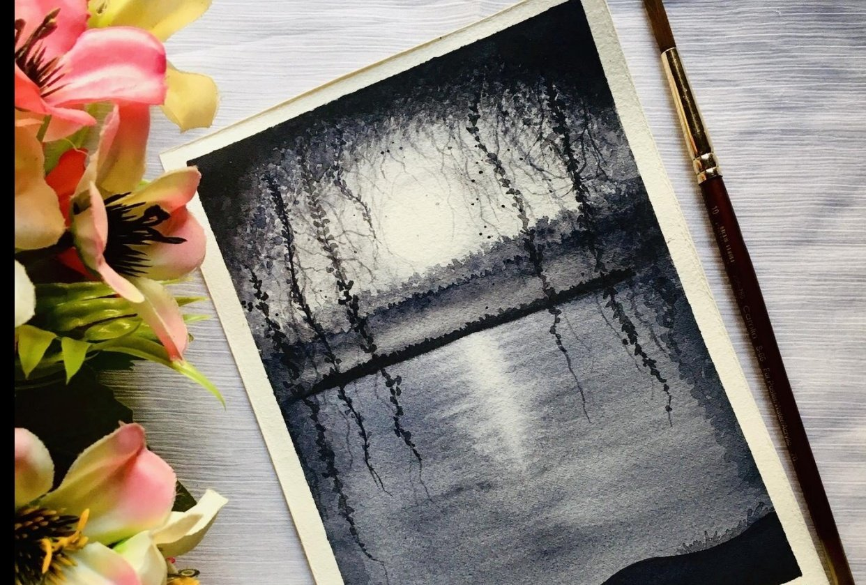 watercolour nightscape painting - student project