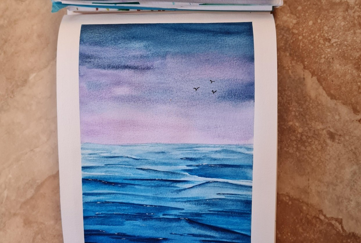 Ocean watercolour - student project