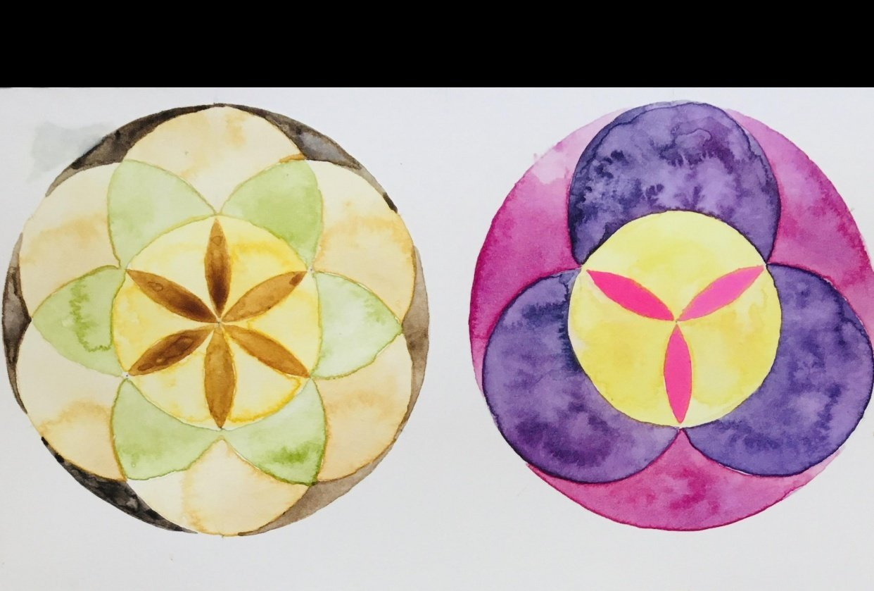 Geometry & watercolour - student project